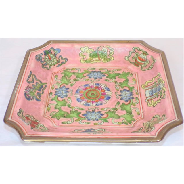Chinese Export Porcelain Decorative Blush and Caledon Catchall Dish For Sale In Houston - Image 6 of 9