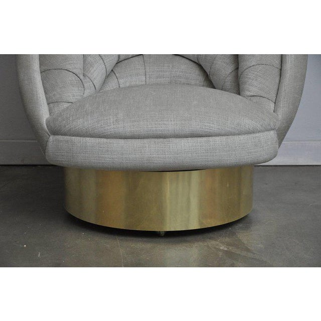 Mid 20th Century Vladimir Kagan Crescent Swivel Chair on Brass Base For Sale - Image 5 of 6