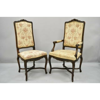 Vintage French Provincial Louis XV Country Style Upholstered Dining Chairs- Set of 6 Preview