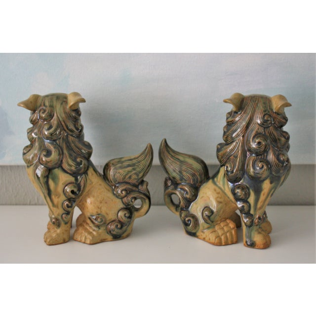 Vintage Terracotta Glazed Foo Dogs - Pair - Image 4 of 7