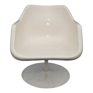 Vintage Mid Century White Fiberglass Low Profile Pedestal Chair by Eames Herman Miller For Sale