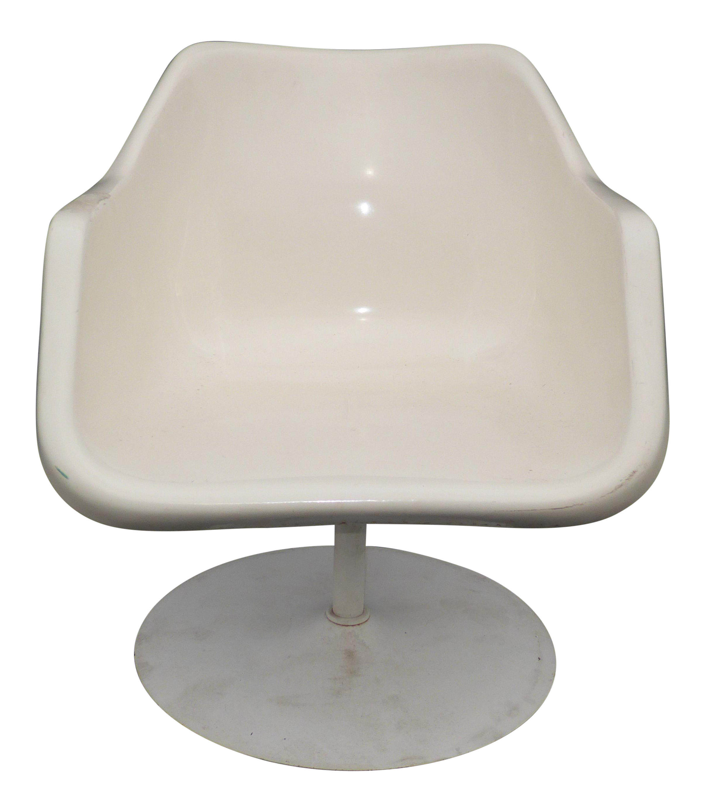 Vintage Mid Century White Fiberglass Low Profile Pedestal Chair By Eames  Herman Miller