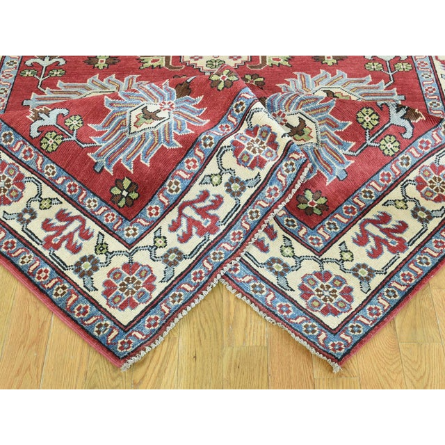 Hand-Knotted Pure Wool Geometric Design Red Kazak Rug- 5′ × 6′3″ For Sale In New York - Image 6 of 12