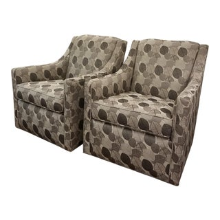 Modern Silver Swivel Chairs- A Pair For Sale