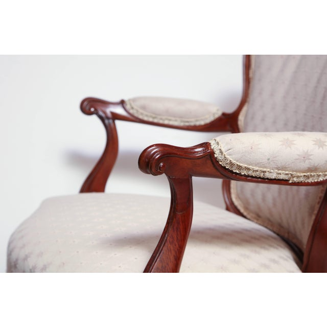 White Pair of George III Carved Armchairs For Sale - Image 8 of 11