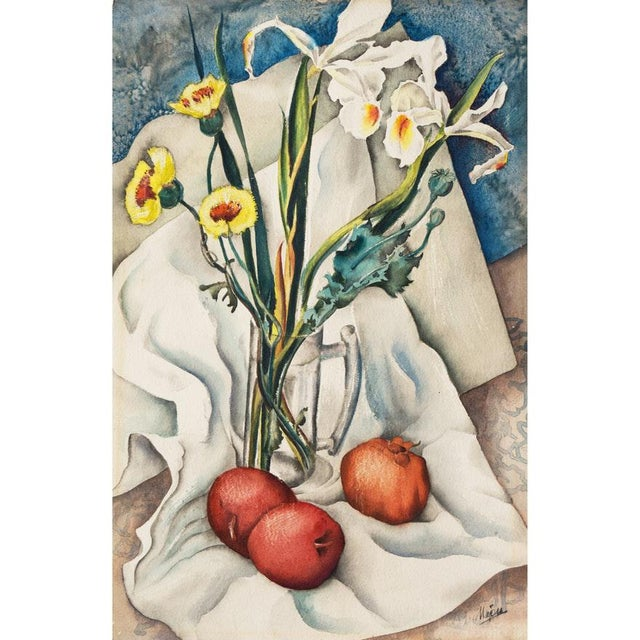 Vintage Mid-Century Still Life With Flowers and Pomegranate Painting For Sale - Image 12 of 12