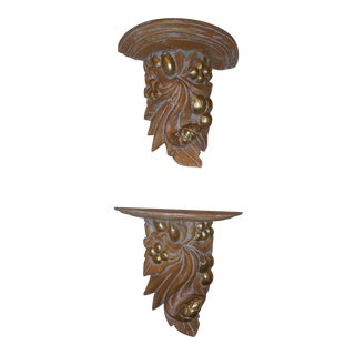 Gilt Carved Wood Mounted Shelves - a Pair For Sale