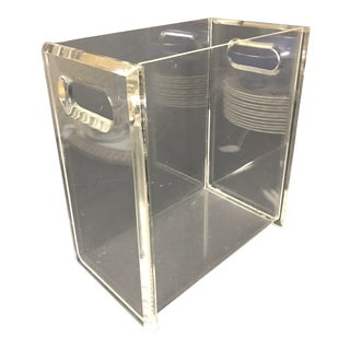 1960s Minimalist Thick Lucite Waste Basket For Sale