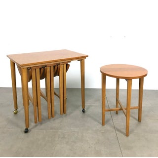 1960s French Country Poul Hundevad Teak Nesting Table Trolley Set - 5 Pieces Preview
