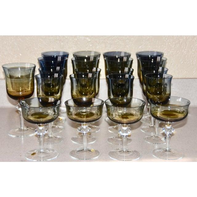 Mid-Century Modern Denby Aurora Blue & Amber Stemware Wine Glass For Sale - Image 3 of 4