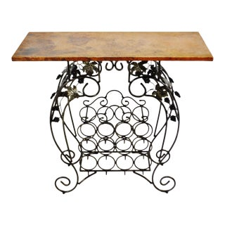 Vintage Hammered Copper Top Wine Rack Table W/ Wrought Iron Decorative Base For Sale