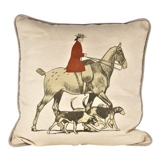 Horse and Hounds Linen Equestrian Pillow For Sale