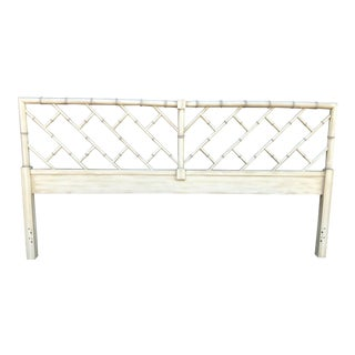 Vintage Chippendale Faux Bamboo King Headboard For Sale