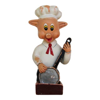 1950s French Earthenware Kitchen Wall Pig Matchbox Holder For Sale