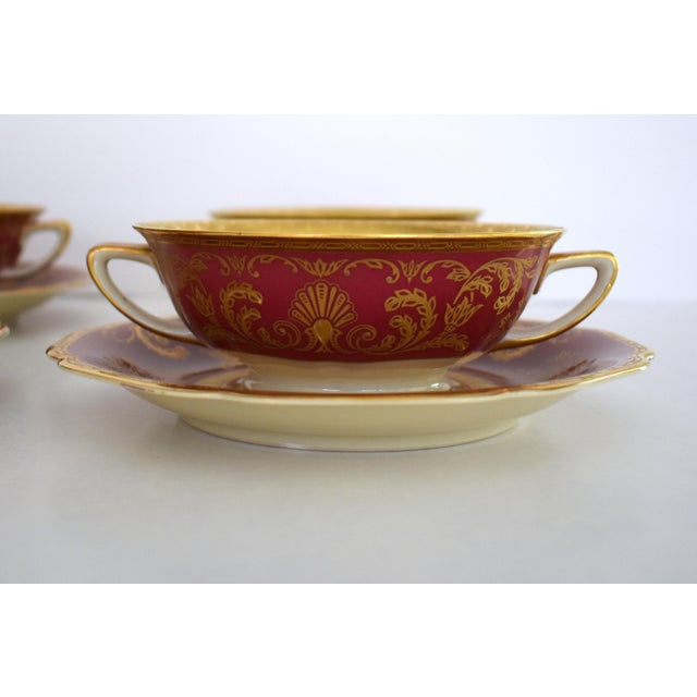 Heinrich & Co. Heinrich and Co. Selb H & C Bavaria German Porcelain Red and Gold Encrusted Handled Soup Bowl and Saucer - Set of 3 For Sale - Image 4 of 13