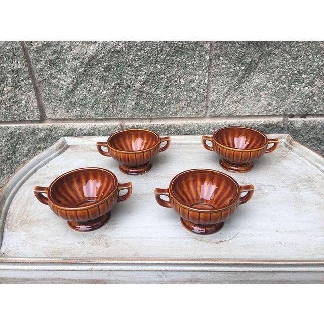 Vintage Amber Pedestal Bowls - Set of 4 - Image 2 of 8