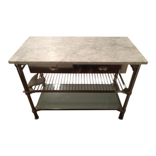 Williams-Sonoma Modular Kitchen Island With Carrera Marble Top, Polished Nickel For Sale
