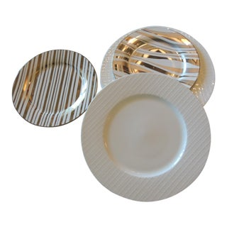 Set of '4' Gold and White Porcelain Plates For Sale