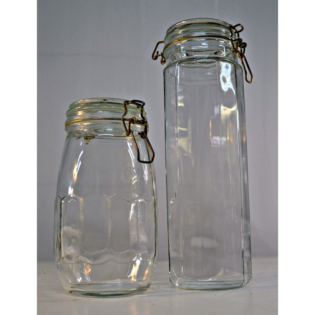 Clear Glass Canisters - A Pair For Sale In Miami - Image 6 of 6