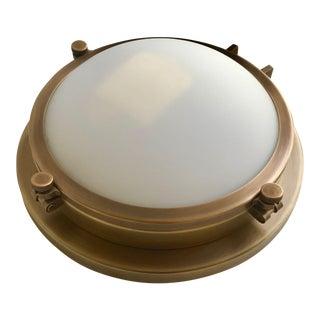 Restoration Hardware 'Harmon' Antique Brass Flush Mount Light For Sale