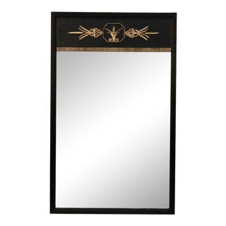 Neoclassic Black and Gold Detail Wood Framed Mirror For Sale
