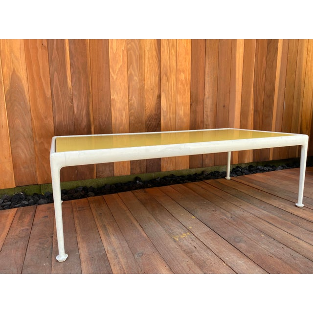 Mid century modern rectangle coffee table designed by Richard Schultz for Knoll. Welded cast and aluminum frame with...