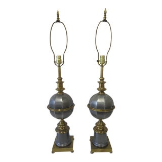 1980s Regency Italian Gray and Brass Tole Globe Lamps - a Pair For Sale