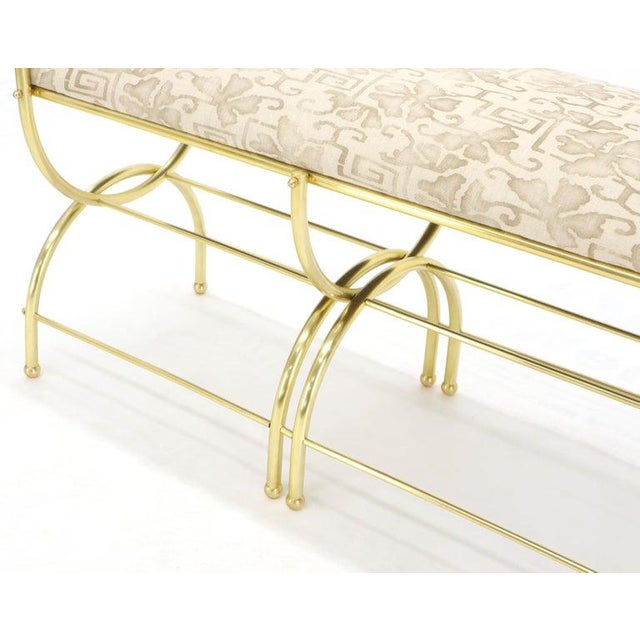 Solid Brass Frame Midcentury Window Bench New Upholstery For Sale - Image 11 of 13