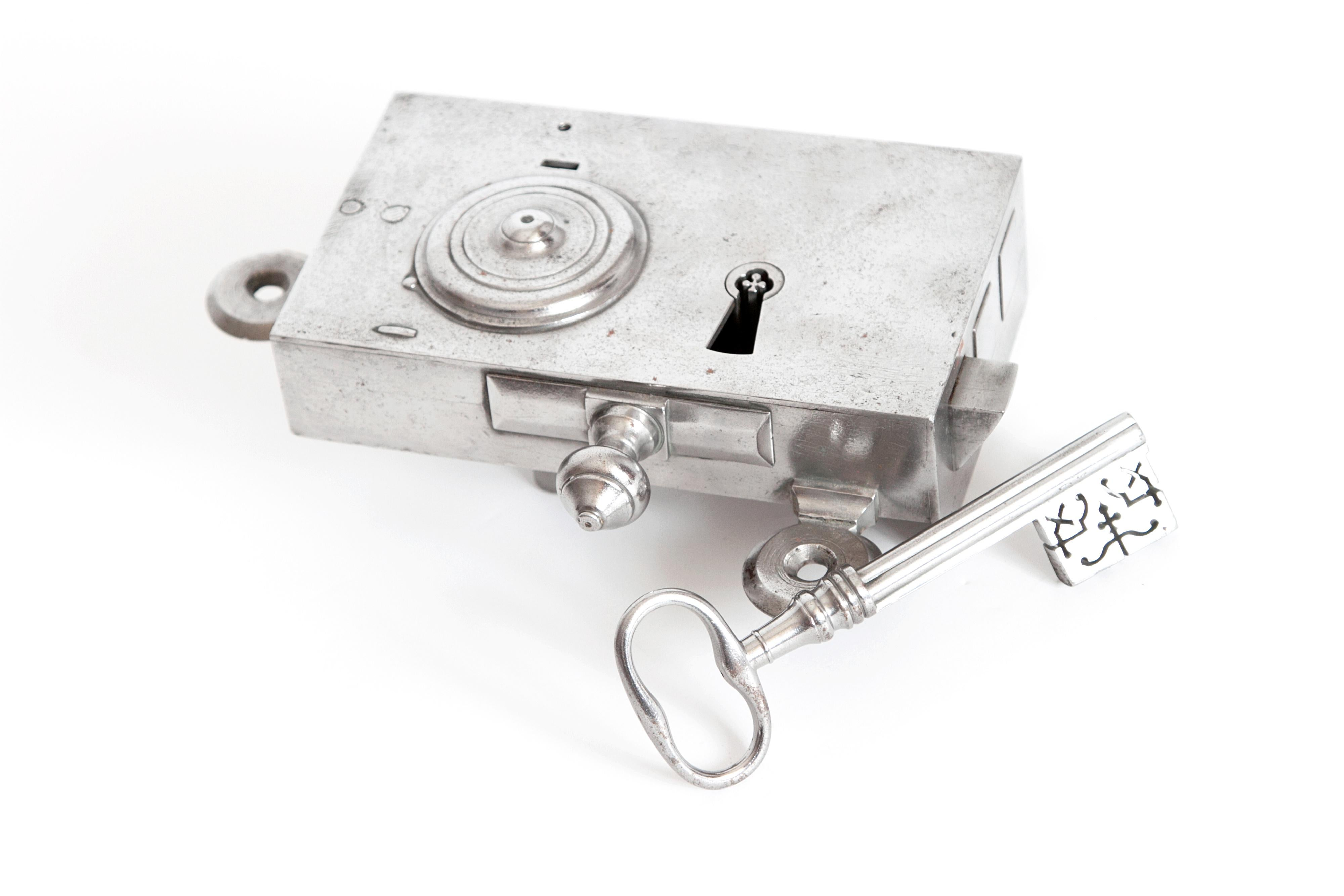 A Large French Steel Door Lock With An Elaborate Key   Image 8 Of 8