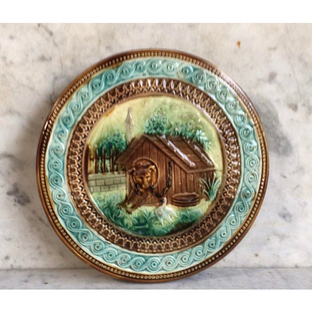 French Majolica Dog Trivet Onnaing Circa 1890 For Sale In Austin - Image 6 of 6