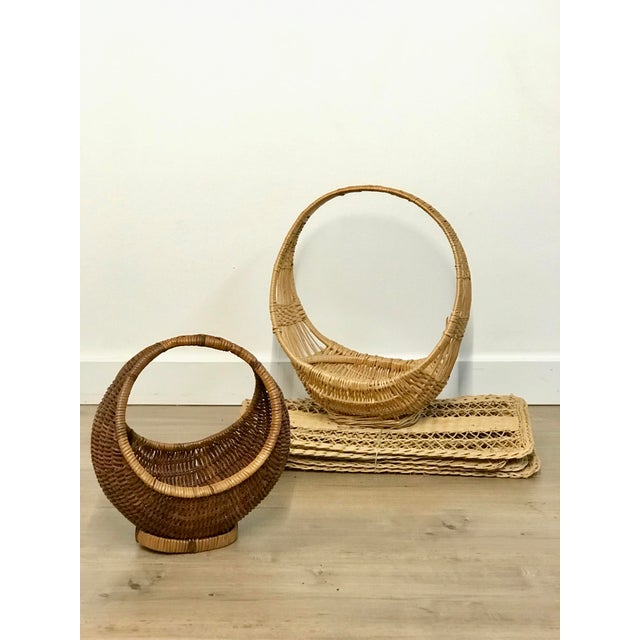Nesting Gondola Woven Wicker Rattan Baskets - a Pair For Sale In Los Angeles - Image 6 of 12