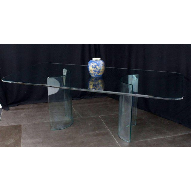 Transparent Curved Glass Base Thick 3/4 Glass Top Large Dining Conference Table For Sale - Image 8 of 9