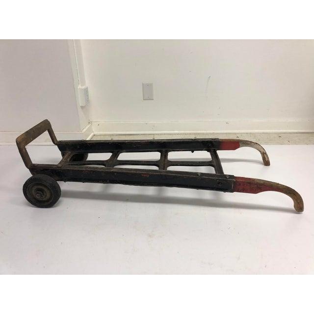 Metal Vintage Industrial Factory Wood & Metal Dolly Cart For Sale - Image 7 of 13