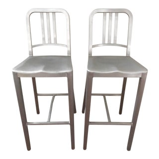 Modern Emeco 1006 Navy Barstools- A Pair For Sale