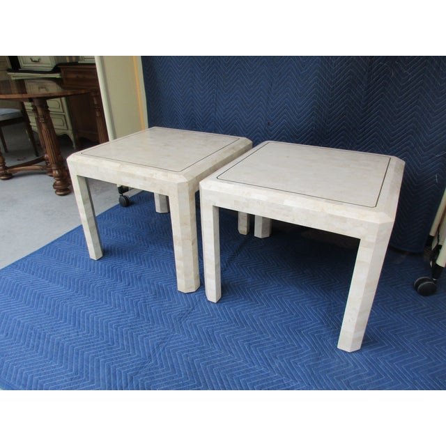 Maitland Smith Tessellated Stone and Brass Side Tables - a Pair For Sale - Image 6 of 12