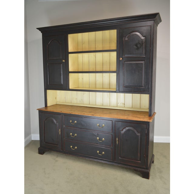 Brown Monumental Custom Crafted Reproduction Country Painted Pine Step Back Hutch For Sale - Image 8 of 13