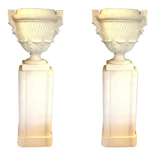 Large Transitional Vintage Concrete and Sandstone White Urns on Pedestals - A Pair For Sale