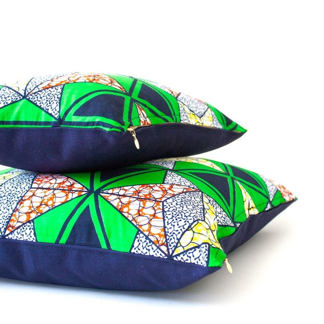 African Wax Print Pillow Cover - Green - Image 2 of 4