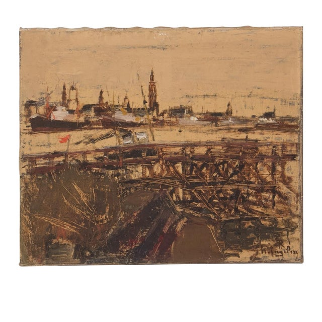 Oil Painting of Antwerp Circa 1900 For Sale