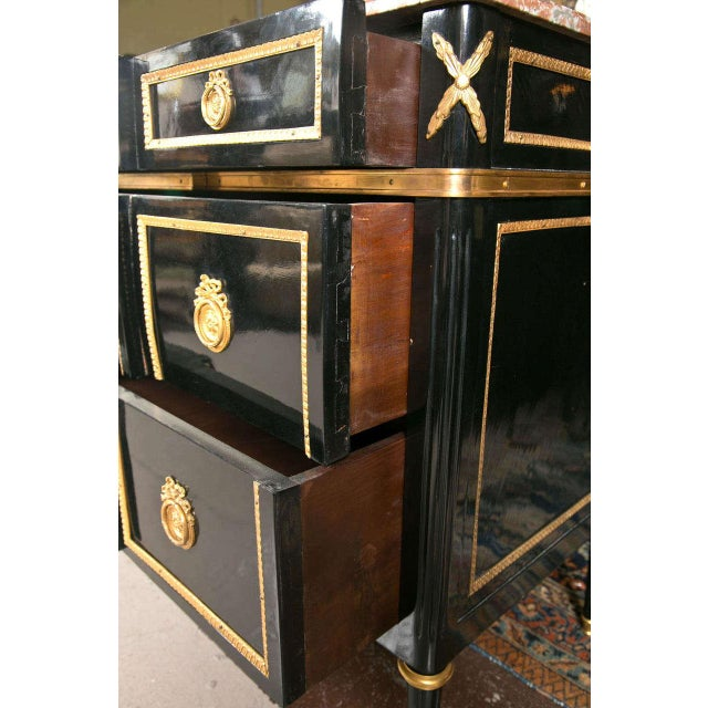 Maison Jansen Marble-Top Ebonized Commode Heavy Bronze Mounts Louis XVI Style For Sale In New York - Image 6 of 11