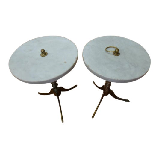 Vintage Round Marble and Brass Tea Tables - a Pair For Sale