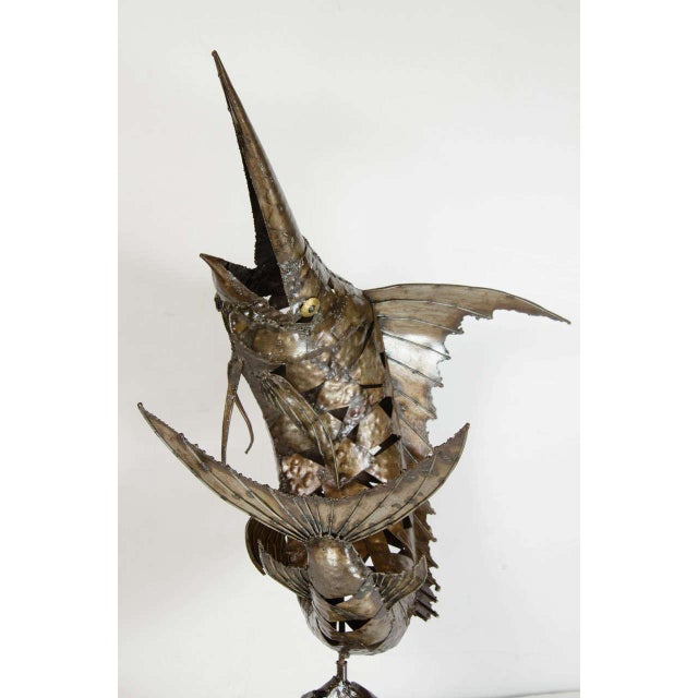 Metal Mid-Century Modernist Brutalist Marlin Sculpture For Sale - Image 7 of 8