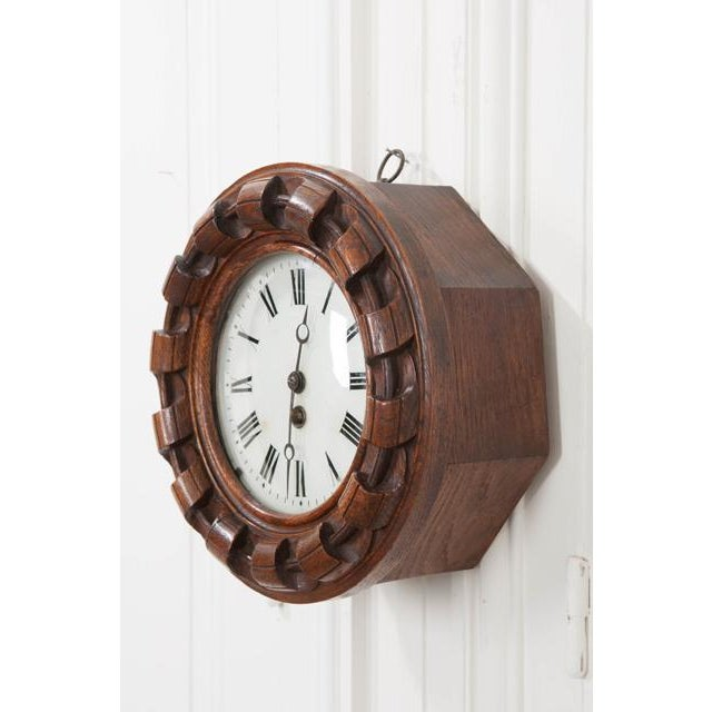 French 19th Century Hand Carved Oak Wall Clock For Sale In Baton Rouge - Image 6 of 7