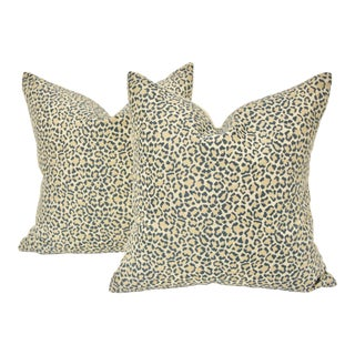 Dusty Blue Linen Leopard Pillows, Pair