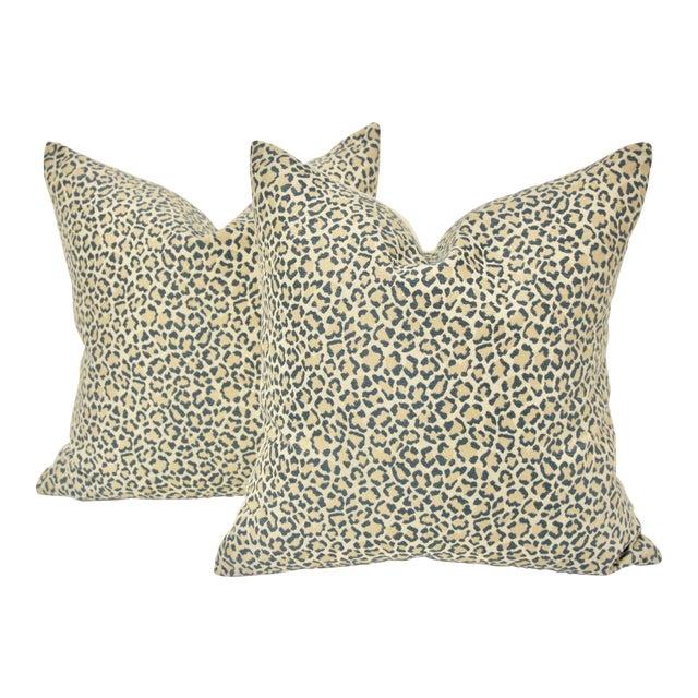 Dusty Blue Linen Leopard Pillows, Pair For Sale
