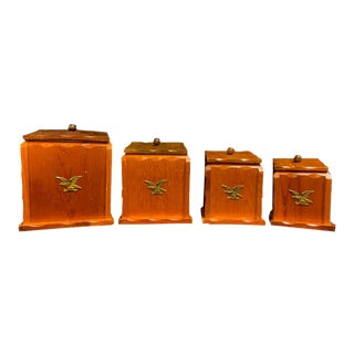 Mid Century Modern Wooden Canisters - Set of 4 For Sale