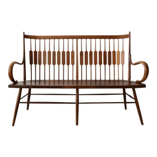 Mid Century Walnut Spindle Back Bench by Kipp Stewart for Drexel Declaration For Sale