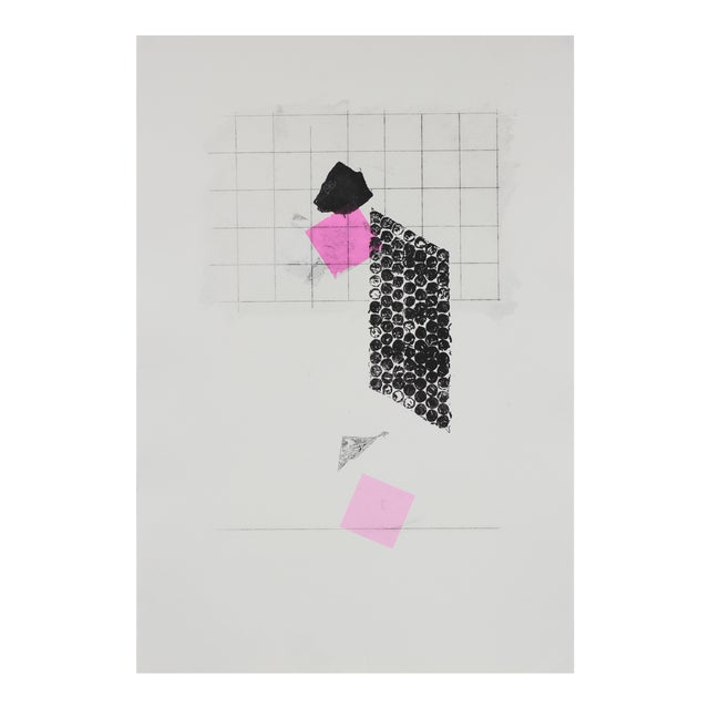 Minimal Abstract Monotype With Pink, Late 20th Century For Sale