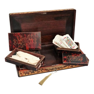 19th-Century French Playing Cards Box, Lock & Key, Counters For Sale