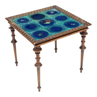 Mid-Century Modern Handpainted Pottery Tile Top Side Table For Sale
